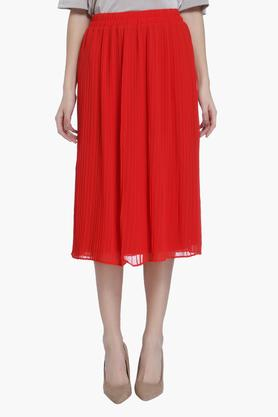VERO MODA Womens Solid Pleated Midi Skirt