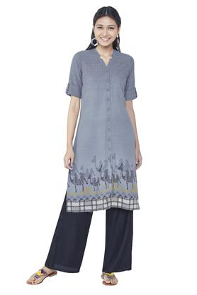 GLOBAL DESI Womens Printed Knee Length Kurta