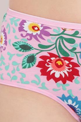 Womens High Waist Floral Print Hipster Briefs