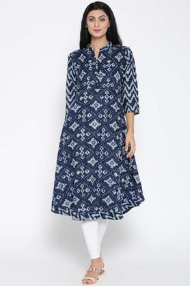 JASHNCotton Silk Ethnic Motifs Mandarin Collar Kurta - 204127488_9308