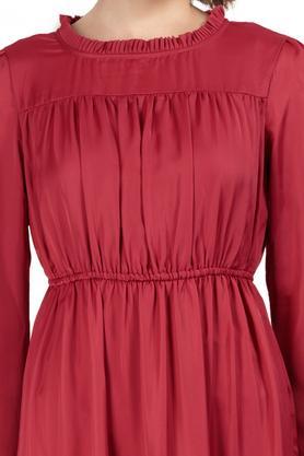 Womens Ruffled Collar Solid Maxi Dress