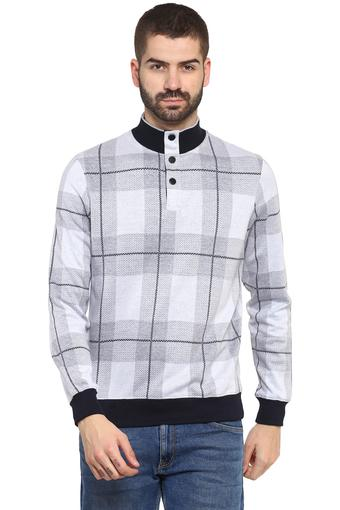 Mens High Neck Checked Sweatshirt