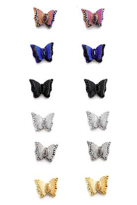 Womens Butterfly Metallic Studs Set of 6 Pairs