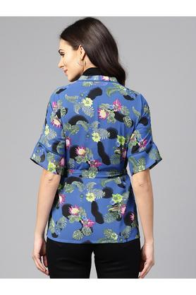 Womens Open Front Floral Tie Up Shrug