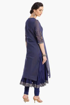 Womens Round Neck Layered Embroidered Churidar Suit