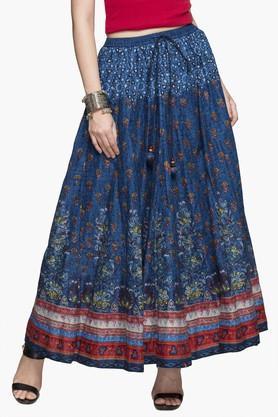 BIBAWomens Printed Flared Long Skirt