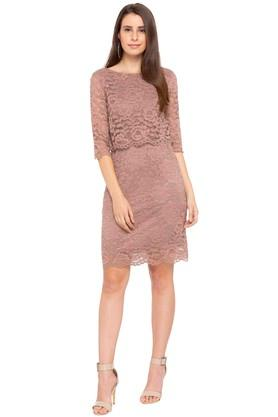02476d1c1e X GIPSY Womens Round Neck Lace Knee Length Dress