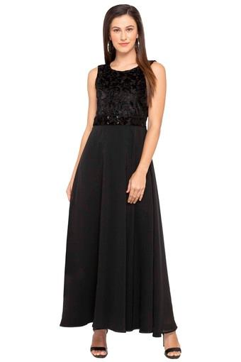 Womens Round Neck Solid Lace Maxi Dress