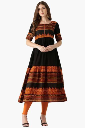 21870b1937 Buy LIBAS Womens Cotton Anarkali Printed Kurta | Shoppers Stop