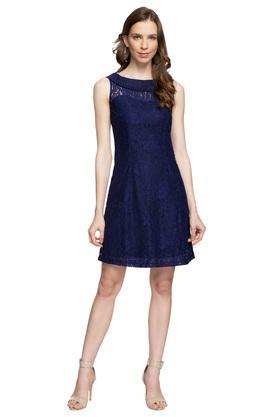 Womens Round Neck Lace A-Line Dress