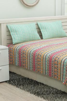 Poly Cotton Printed King Bed Sheet with Pillow Cover