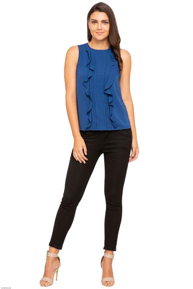 Womens Round Neck Solid Ruffled Top