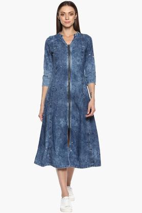 Womens Mandarin Neck Heavy Wash A-Line Dress