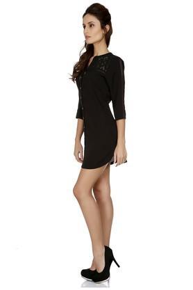 Womens Mandarin Neck Lace Shirt Dress