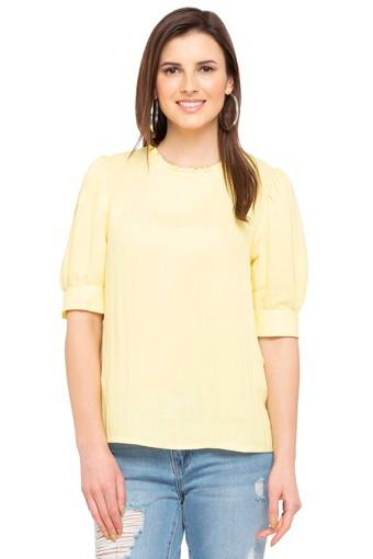 Womens Ruffled Collar Solid Top