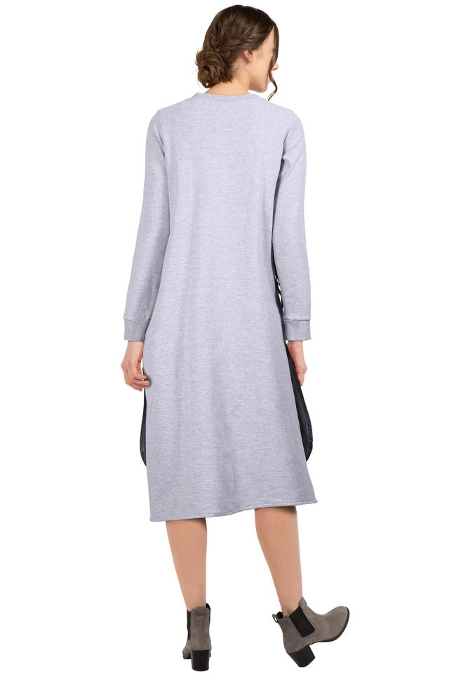 Womens Round Neck Slub Layered Dress