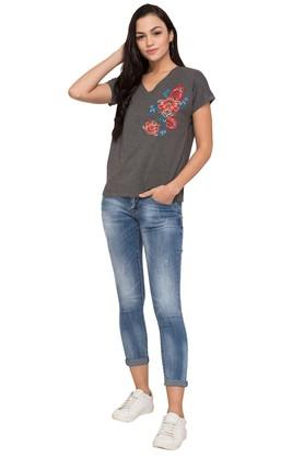 Womens V-Neck Embroidered T-Shirt