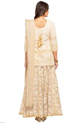 Womens Round Neck Embroidered Ghagara Choli Set
