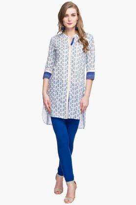 Womens Mandarin Neck Printed High Low Kurta