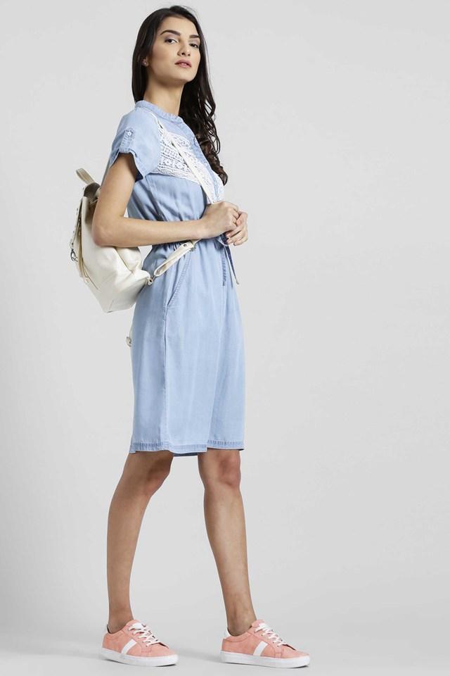 Womens Mandarin Neck Lace A-Line Dress