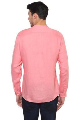 Mens Straight Fit Mandarin Collar Slub Shirt