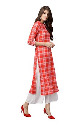 Womens Mandarin Collar Checked Kurta