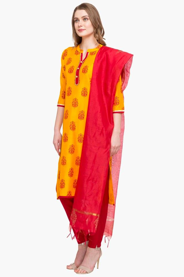 Womens Mandarin Neck Printed Pant Suit