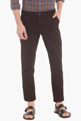 Mens Slim Fit 5 Pocket Check Chinos