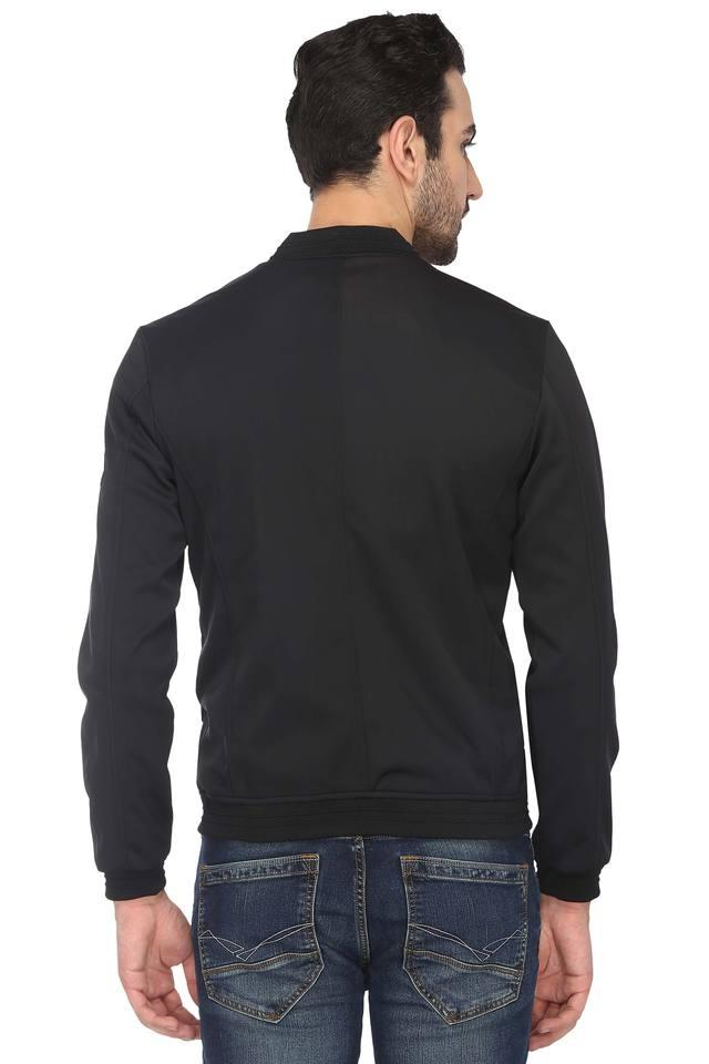 Mens Band Neck Graphic Print Jacket