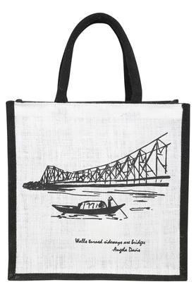 Square Howrah Bridge Printed Jute Shopping Bag