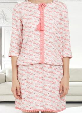 Womens Tie Up Neck Printed Long Top