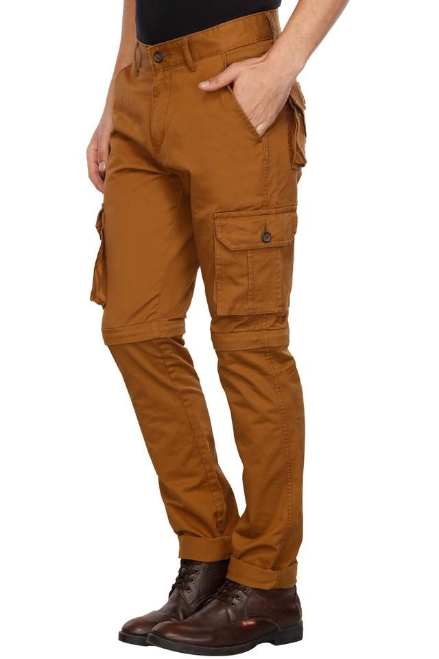 Mens 6 Pocket Solid Convertible Cargos