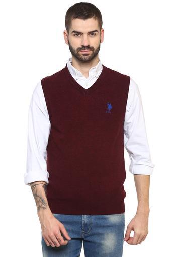 Mens V Neck Slub Sweater