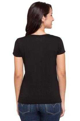 Womens Round Neck Graphic Print Tee