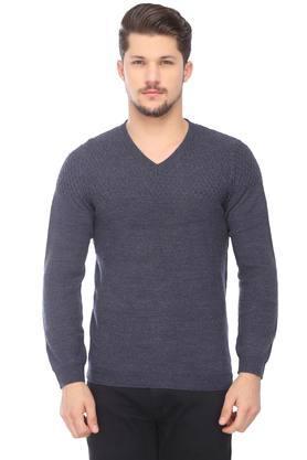 VAN HEUSENMens V-Neck Slub Sweater