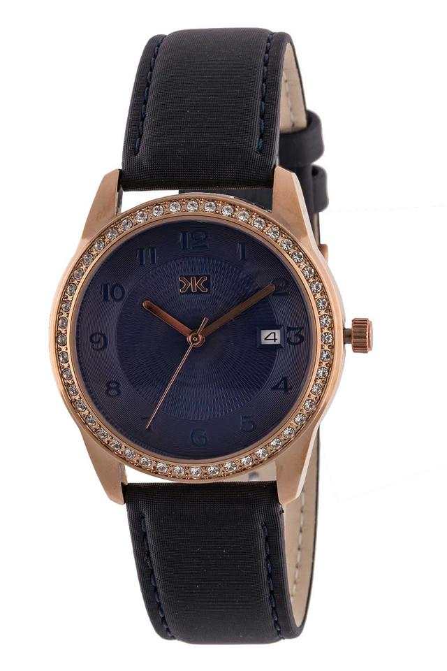 Womens Blue Dial Leather Analogue Watch - KLW522F