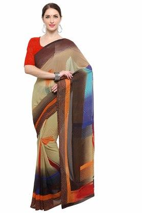 RACHNA Womens Color Georgette Printed Saree With Blouse - 204088382_7086