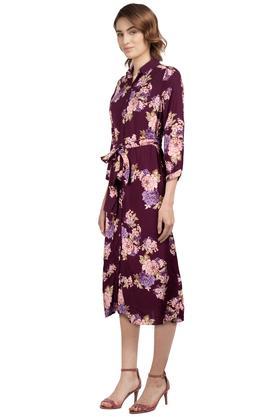 Womens Floral Print Shirt Dress