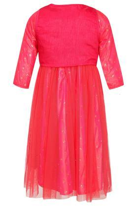 Girls Round Neck Assorted Layered Gown with Koti