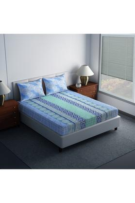 SPACESCotton Printed Double Bedsheet With 2 Pillow Covers - 203557280_9900