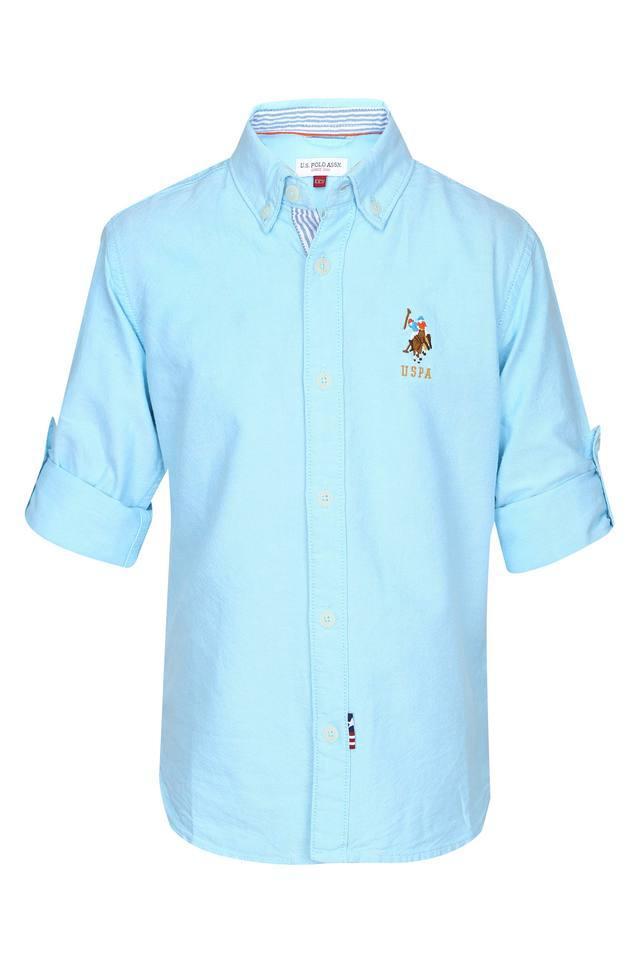 Boys Button Down Collar Solid Shirt