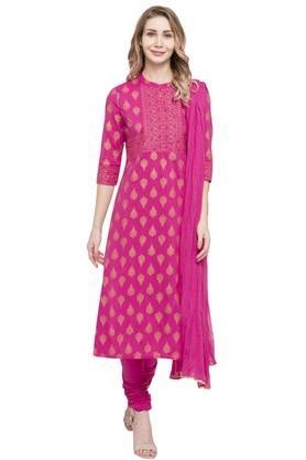 444013e4c3c18 X HAUTE CURRY Womens Mandarin Neck Printed Churidar Suit