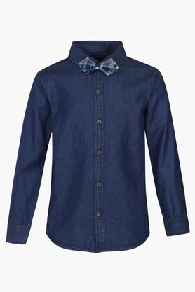 Boys Solid Shirt With Checked Waistcoat