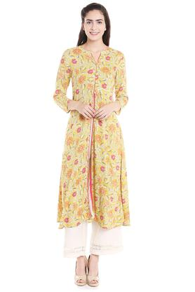 FUSION BEATS Womens Notched Neck Printed Kurta - 203677757