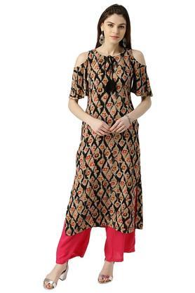 Womens Rayon Printed Straight Kurta