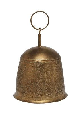 ADARA Vintage Iron Etched Bell With Hanging Loop