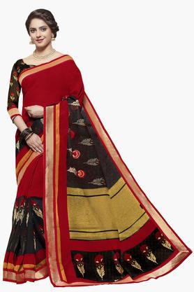 ISHINWomens Jute Silk Embroidered Saree