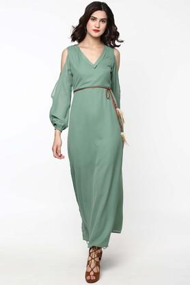Womens V Neck Solid Maxi Dress