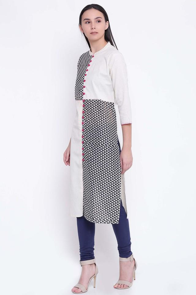 Pure Cotton Geometric Mandarin Collar Kurta