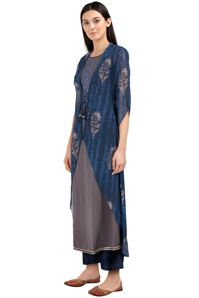Womens Mandarin Collar Printed Layered Kurta and Pant Set
